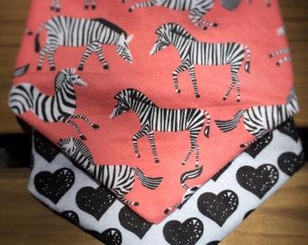 Zebra and Hearts Bandana Set