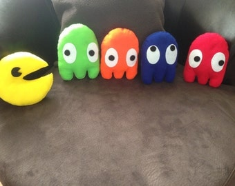 Felt Pac-Man & The Ghosts Pillow Decoration