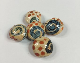 CERAMIC HANDPAINTED ROUND Disc Beads