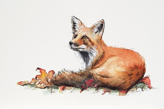 Fox Wall Art Print from an original watercolour painting by Corinne Dany / Animal Print /  Kids Room / Gift / Cute Fox / Art Print