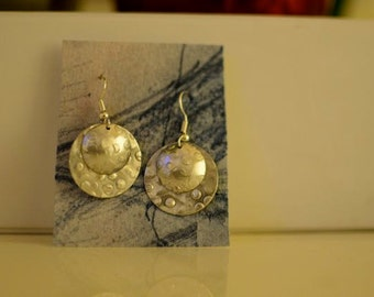 Silver Textured Circular Earrings