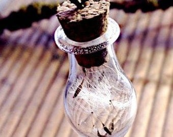 "Vial ""dandelion"" glass bottle"