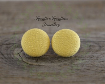 19mm Yellow Fabric Button Stud Earrings