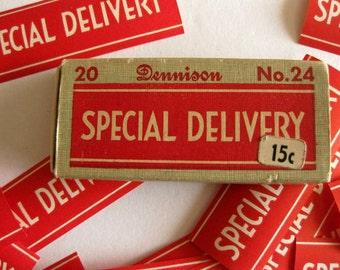 LAST ONE** Vintage Dennisons Labels Special Delivery Postage Label - Set of 10