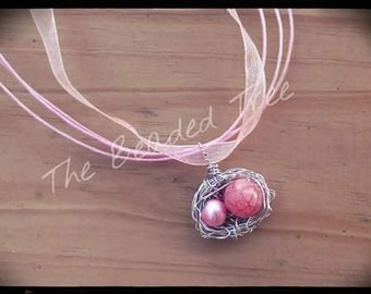 Mommy and me bird nest\ bird nest\ necklace\ pink necklace\ mommy and me jewelry
