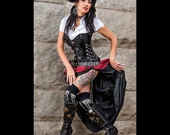 Ready to Ship 3 pc Steampunk Corset with Double Bustle Skirt Dress Black wine black Victorian Cosplay Costume  Goth Dress up