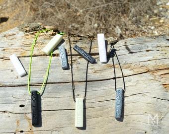 Pole Necklace / Fimo stones: White-Silver-Black-Glitter Grey-Nightglow!