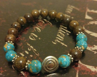 Bronzite and blue sea sediment jasper bracelet 8mm