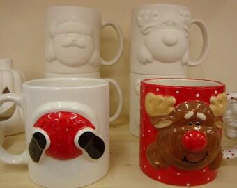 Santa and Rudolph Ceramic Mugs set of 2