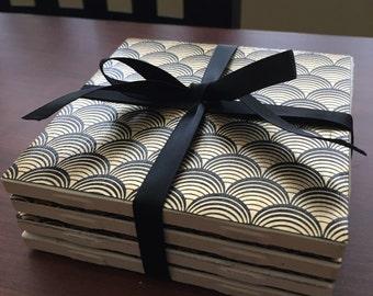 Black & Gold Fan Coasters - Set of 4