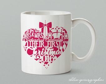 "Mrs & Mrs ""Surname"" Celebrating Their First Christmas 2017 – Personalised Christmas Gift Mug"
