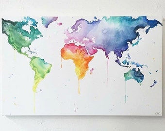 World map multicolour where to next framed print world map multicolour wanderlust hand painted canvas wall art gumiabroncs Images
