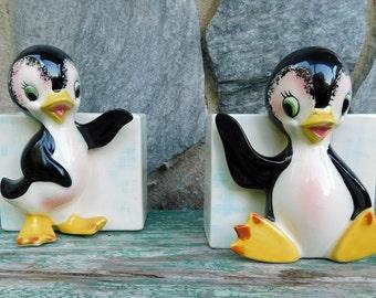 Adorable Vintage Ardco Anthropomorphic Penguin Wall Pocket Planters