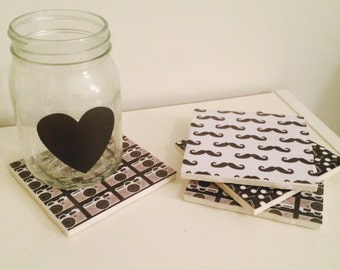 Everything is better in B&W (Tile coasters set of 4)