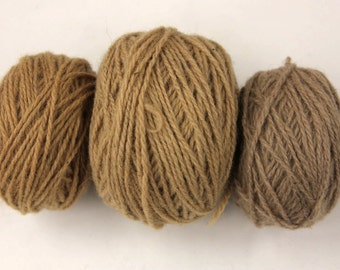 Plant Dyed Wool Yarns - Naturally Dyed Wool Yarns with Alder Tree Bark - Natural Brownish Yellow, Greyish Yellow Yarns for Weaving, Knitting
