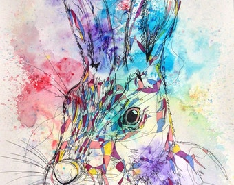 A3 hare painting fine art print