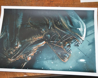 Alien screenprint screenprint silkscreen print
