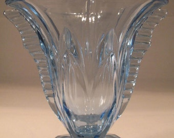 Art Deco Blue Glass Vase With Fins 1930's