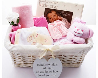Twinkle Twinkle 'It's A Girl' Baby Hamper - Pink Baby Hampers - Luxury Baby Hampers - Bespoke Baby Gifts - Twinkle Twinkle Little Star Gifts