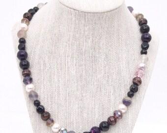 Majorca Multicolored Pearl Necklace (Black)