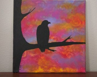 Eagle On a Branch Silhouette Painting