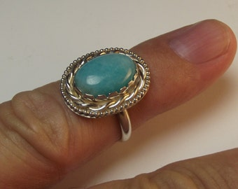 amazonite, sterling silver ring.
