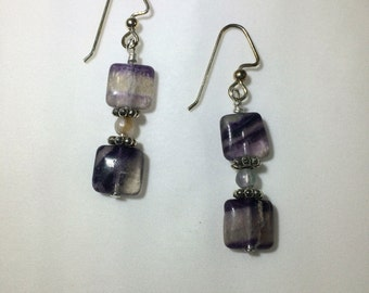 Fluorite beaded drop earrings