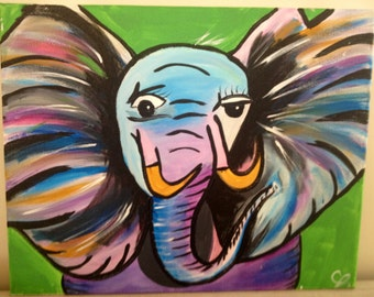 Fun Elephant painting on canvas