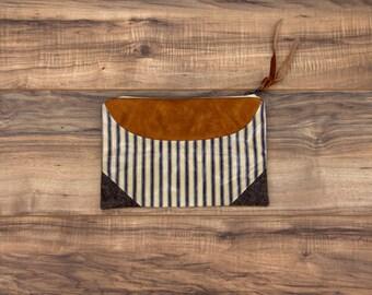 Peninah Blue Stripe Clutch