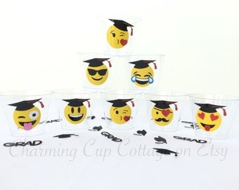 Graduation Party Cups/Emoji Graduation/Emoji Party Cups/Emoji Party Theme/Disposable Party Cups/Emoji Theme Party/Vinyl Party Cups