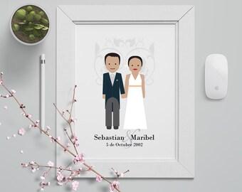 Custom Couples Wedding/Anniversary Illustration Portrait - Custom Made  - Digital File