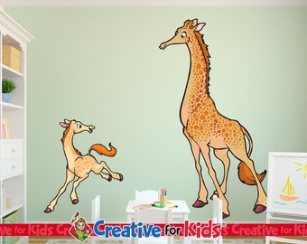 Large Giraffe Wall Decal, Jungle Wall Decal, Safari Wall Decal, Nursery Wall Decal, Baby Wall Decal, Kids Wall Decal - 7037-38