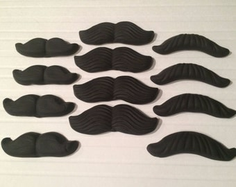 12 x Handmade Edible Fondant Moustaches-Cupcake toppers