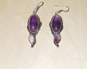 Earrings - Amethyst Quartz Stones