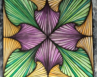 Linear in Green, Violet & Gold by Leyla Samadi