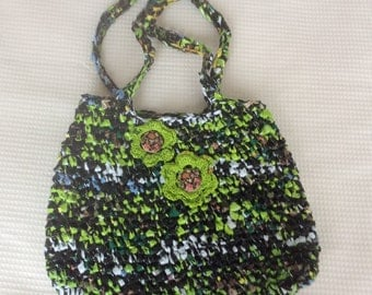Green and black  large eco-friendly Plarn and bag