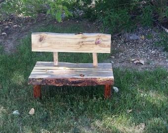 Wood bench Mini live slab wood bench. Home decor. Bench. Outdoor bench. Decor. Rustic decor. Rustic. Wood bench. Wedding decor