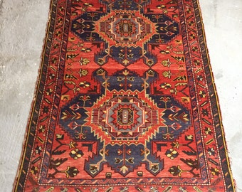 4'10''x7'2'' Antique Caucasian Handknotted Rug , Wool Shirvan Rug