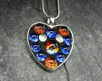 Little Amber and Blue Heart Pendant