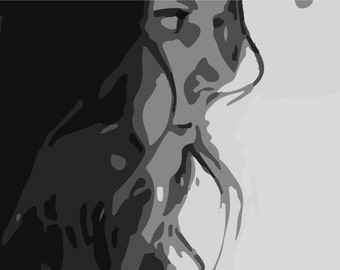 LARGE SIZE Pensive Greyscale Lady, monochrome photography, / Large Poster / Big Poster / Large Print /