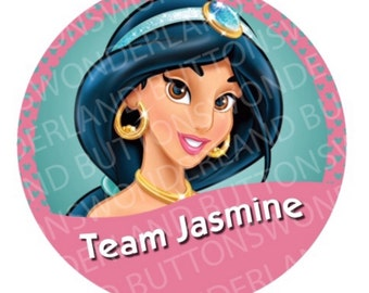 "Disney buttons by WonderlandButtons ""Team Jasmine"" pin inspired by wonderlandbuttons Disney Themes & Characters"