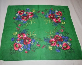 Vintage Ukrainian shawl, Russian shawl,  cotton floral scarf, green shawl, made in USSR
