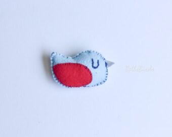 Felt Bird - light blue and red