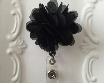 Black Chiffon Flower Badge Holder