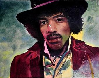 Original 11x14 Watercolor Painting of Jimi Hendrix