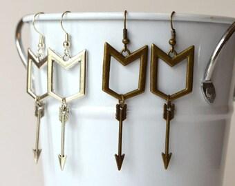 Hawkeye Inspired Earrings in Silver or Bronze Finish