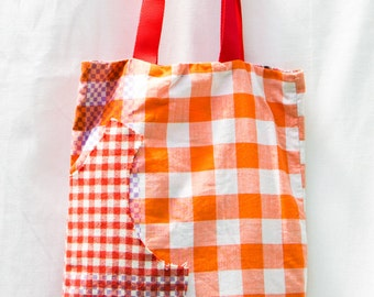 Recycled tote bag red, white and orange