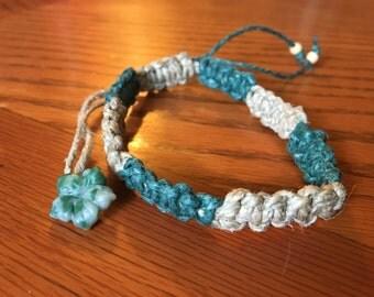 Green and tan hemp macrame bracelet