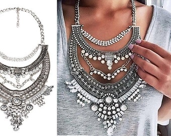 Boho Crystal Chunky Statement Necklace