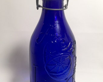 Made in italy cobalt blue fresh squeezed juice bottle